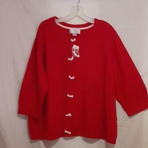 CJ Banks 2X Red White Cardigan Ladies Sweater H227